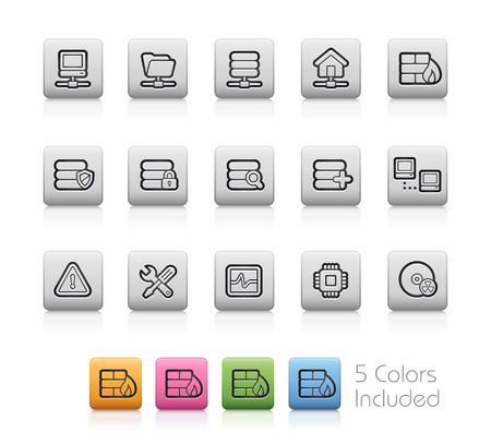 mainframe computer: Network and Server Icons -- Outline Buttons