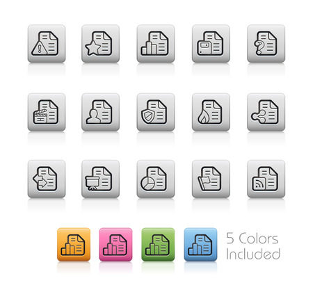mov: Documents Icons - 2 of 2 -- Outline Buttons Illustration