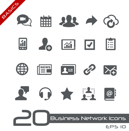 lien: Icônes de réseaux d'affaires Illustration