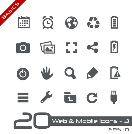 mobile icons: Web and Mobile Icons 3 Illustration