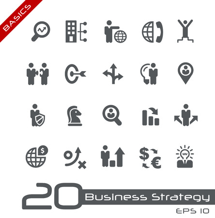 Icons Set of Business Strategy and Management -- Basics Stock Illustratie