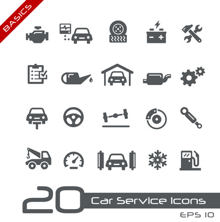 garage automobile: Icônes de services de voitures - Bases