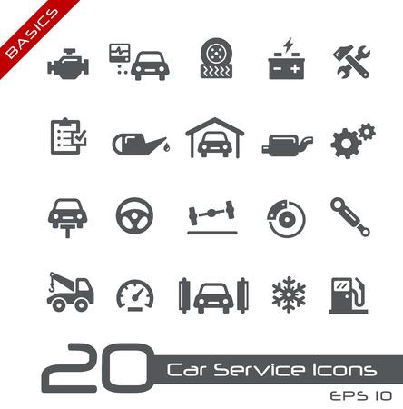 Iconos de coches de servicio - Conceptos básicos Ilustración de vector