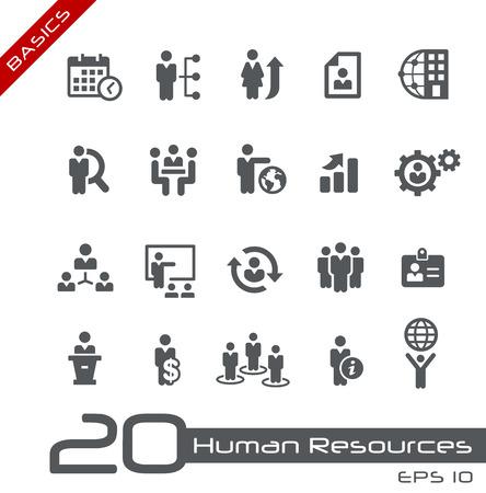 managers: 인적 자원 및 비즈니스 관리의 설정 아이콘 - 기본 사항 일러스트