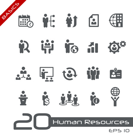 office manager: Icons Set of Human Resources and Business Management -- Basics