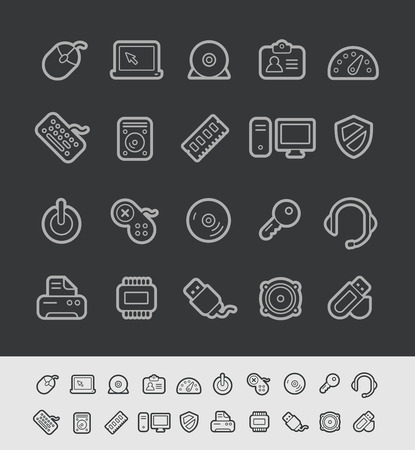 contain: Computer Store Icons - Black Line Series -- Contain Transparencies Illustration