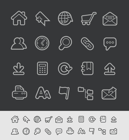Website Icons - Black Line Series -- Contain Transparencies