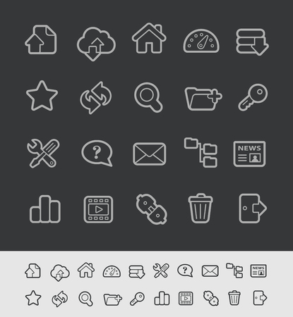 FTP and Hosting Icons -- Black Line Series Illustration