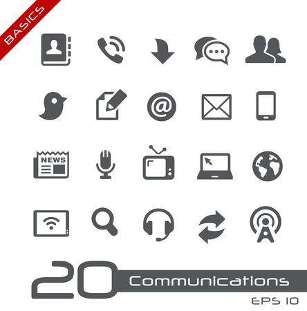 icon set: Communicatie Icon Set - Basics Stock Illustratie