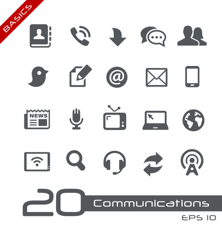Communicatie Icon Set - Basics Stock Illustratie