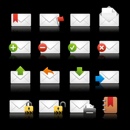 junk mail: E-mail Icons - Set 2 -- Black Background