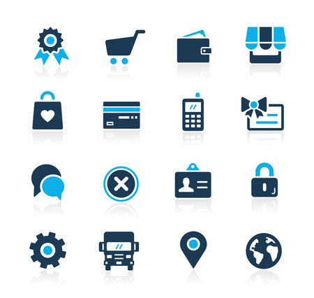 Online Store Icons -- Azure Series Vector