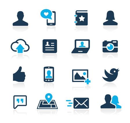 通訊: 社會圖標的Azure系列 向量圖像