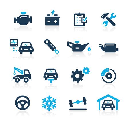 garage automobile: Car Icônes de services Azure Series Illustration