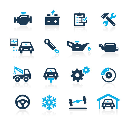 auto shop: Car Service Icons  Azure Series Illustration