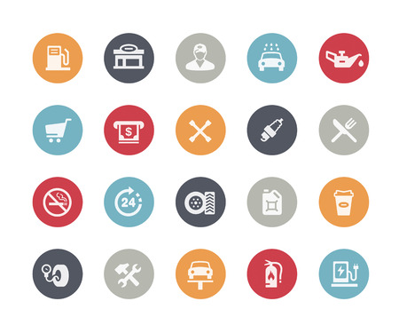 Gas Station Icons  Classics Series Vector