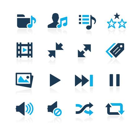 Media Player Icons  Azure Series Illustration