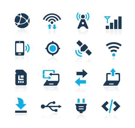 通訊: 連接圖標的Azure系列 向量圖像