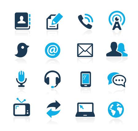 通訊: 通信圖標的Azure系列
