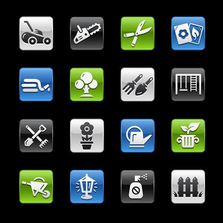 glossy buttons: Giardinaggio Glossy Buttons - Gelbox Series Vettoriali