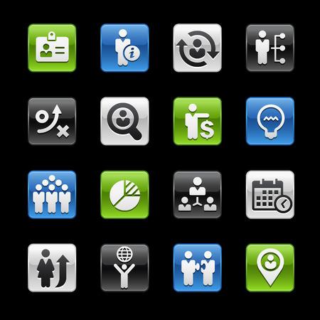 glossy buttons: Efficienza e strategie di business Tasti Lucidi - Gelbox Series Vettoriali