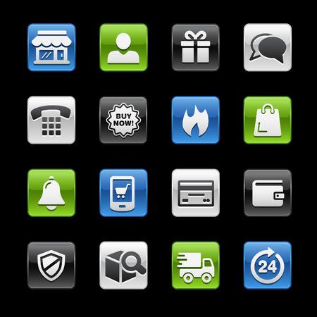 glossy buttons: E-Shopping Tasti Lucidi - Gelbox Series Vettoriali