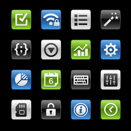 glossy buttons: Impostazioni di sistema Interfaccia Tasti Lucidi - Gelbox Series Vettoriali