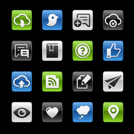 通訊: 社會共享和通信光澤按鈕 -  Gelbox系列 向量圖像