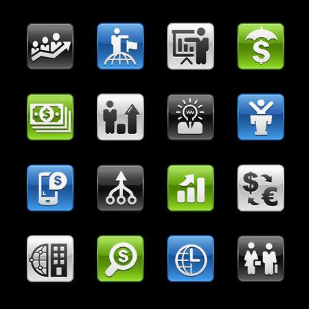 glossy buttons: Finanza e Business Strategie Tasti Lucidi - Gelbox Series Vettoriali