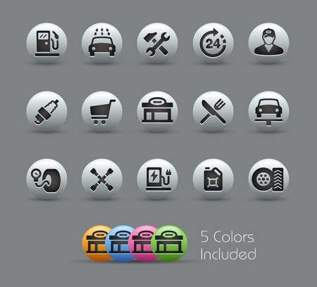 electrician with tools: Gas Station Icons  -- Pearly Series Illustration