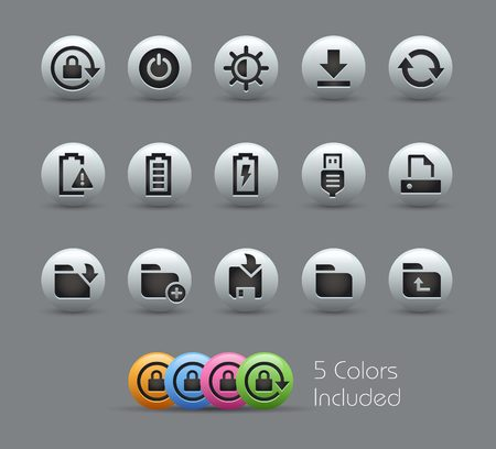 Energy and Storage Icons -- Pearly Series Illustration