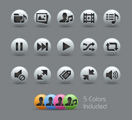 Media Player Icons -- Pearly Series