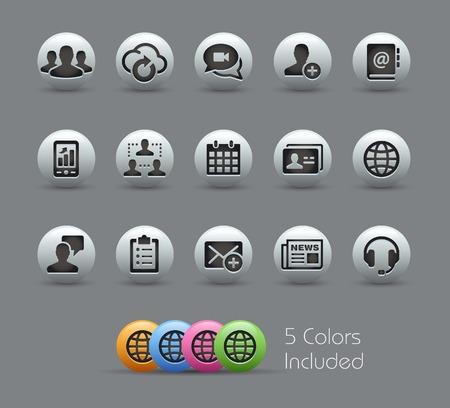 통신: 비즈니스 기술 아이콘 - 진주 시리즈 일러스트