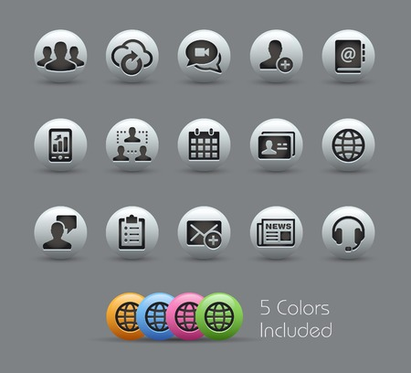 button set: Business Technology Icons -- Pearly Series