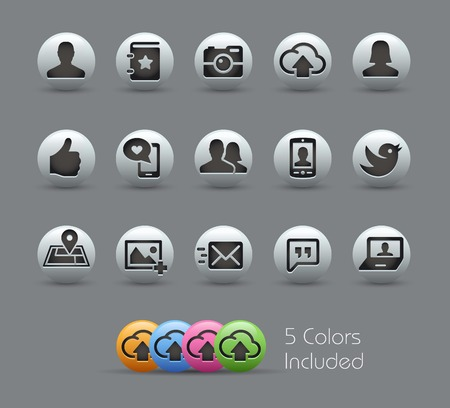 website buttons: Social Icons -- Pearly Series