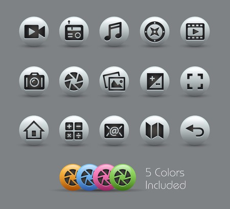 telecommunication: Media Interface Icons  -- Pearly Series