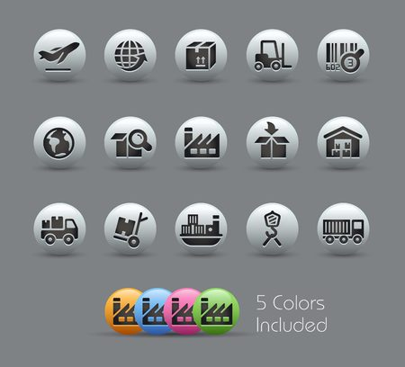 Industria y Logística Iconos - Serie Pearly