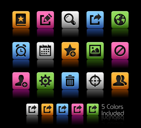 schedule system: Communication Interface Icons -- ColorBox Series -- The Vector file includes 5 color versions for each icon in different layers --