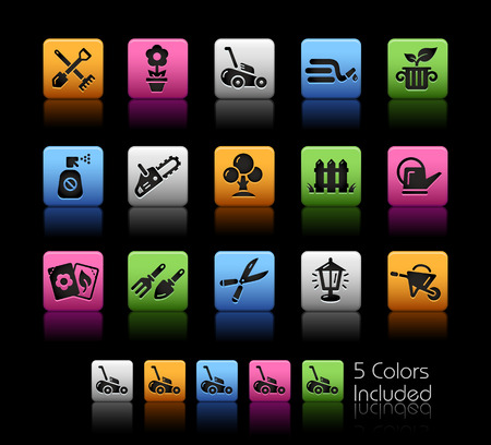 sprinklers: Gardening Icons -- ColorBox Series -- The Vector file includes 5 color versions for each icon in different layers --
