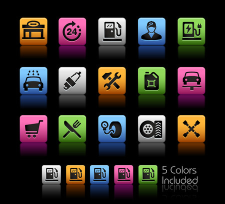 Gas Station Icons -- ColorBox Series -- The Vector file includes 5 color versions for each icon in different layers -- Imagens - 43434167