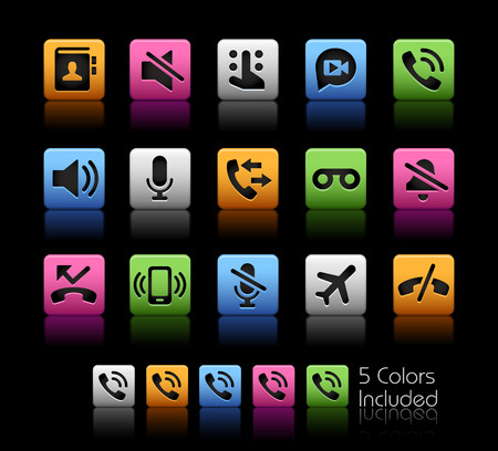 communications: Phone Calls Interface Icons -- ColorBox Series -- The Vector file includes 5 color versions for each icon in different layers --
