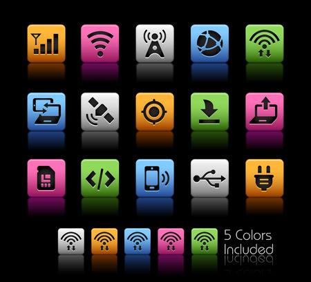 pearly: Connectivity Icons -- ColorBox Series -- The Vector file includes 5 color versions for each icon in different layers --