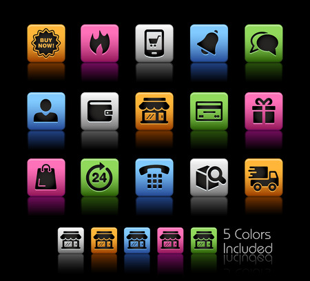 eshop: E-Shop Icons -- ColorBox Series -- The Vector file includes 5 color versions for each icon in different layers --