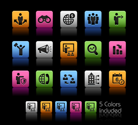 Business Opportunities and Strategies -- ColorBox Series -- The Vector file includes 5 color versions for each icon in different layers -- Banco de Imagens - 43434211
