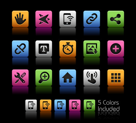 typesetting: System Icons Interface -- ColorBox Series -- The Vector file includes 5 color versions for each icon in different layers --