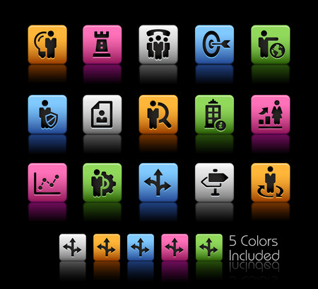 headquarter: Company and Business Strategies -- ColorBox Series -- The Vector file includes 5 color versions for each icon in different layers --