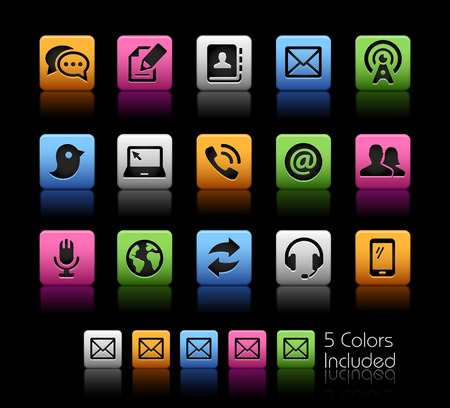 communication icons: Communications Icons -- ColorBox Series -- The Vector file includes 5 color versions for each icon in different layers --