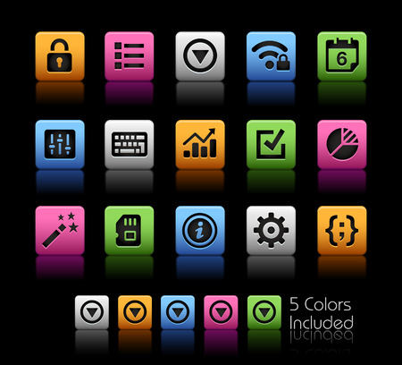 setting: System Settings Interface -- ColorBox Series -- The Vector file includes 5 color versions for each icon in different layers --