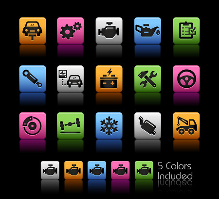 tire shop: Car Service Icons -- ColorBox Series -- The Vector file includes 5 color versions for each icon in different layers --