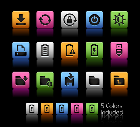 website buttons: Energy and Storage Icons -- ColorBox Series -- The Vector file includes 5 color versions for each icon in different layers --
